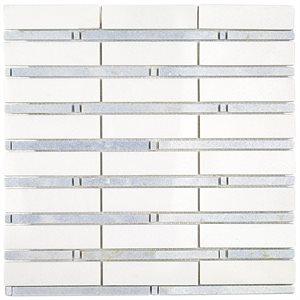Bamboo Pattern White Thassos & Blue Celeste Line