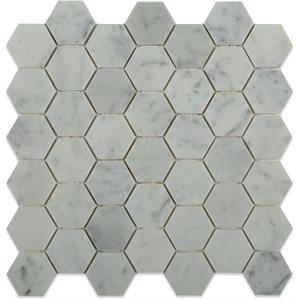 """White Carrara 2"""" Hexagon"""
