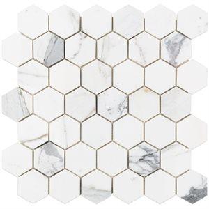"""Calacatta 2"""" Hexagon"""