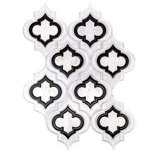 Close Out - MJ Emblem Super White Polished, Black Line &  Asian Statuary