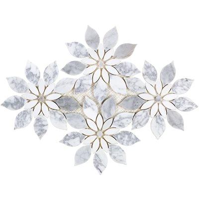 MJ Rain Flower - White Carrara, White Thassos with White Carrara Dot