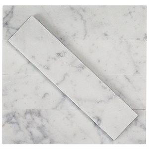 Stone Brushed 2x8 White Carrara